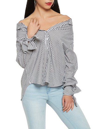 Striped Button Front Off the Shoulder Top,BLACK/WHITE,large