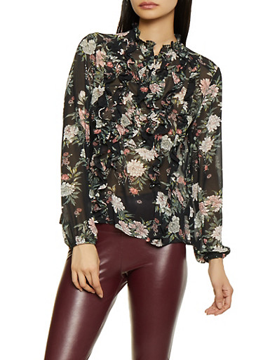 Floral Ruffled Blouse,BLACK,large