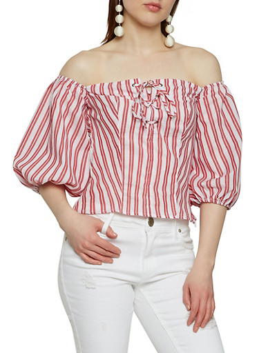 Lace Up Off the Shoulder Top,RED,large