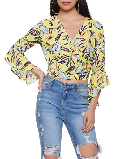 Printed Faux Wrap Crop Top,YELLOW,large