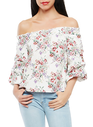 Floral Off the Shoulder Top,WHITE,large