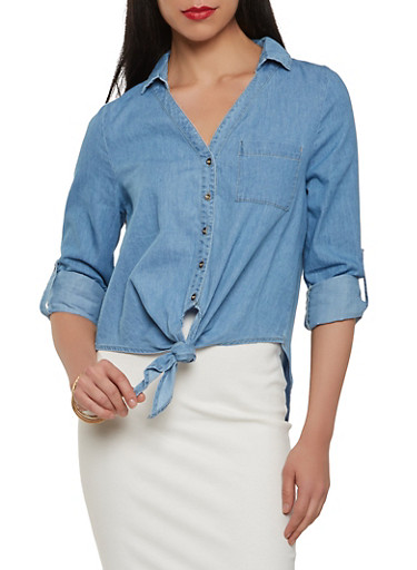 Chambray Tie Front Shirt,LIGHT WASH,large