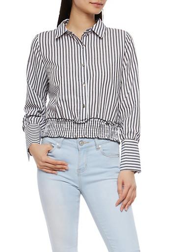 Striped Smocked Waist Top,BLACK/WHITE,large