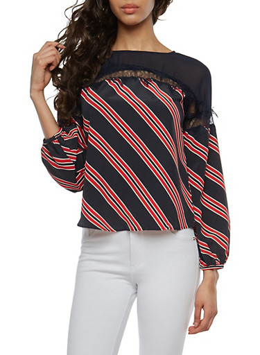 Striped Lace Trim Top,NAVY,large
