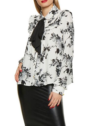 Floral Tie Neck Blouse,BLACK/WHITE,large