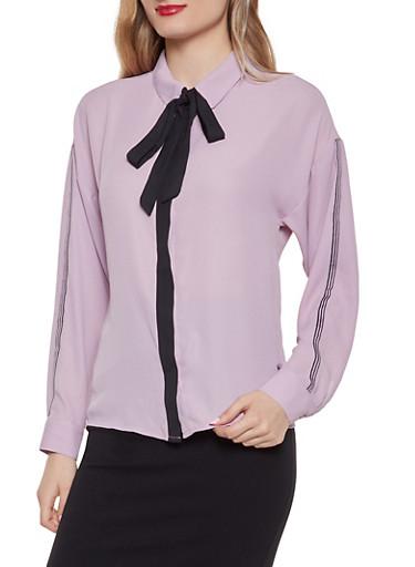 Tie Neck Button Front Shirt,BLUSH,large