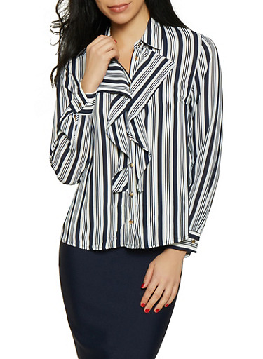 Striped Ruffled Button Front Shirt,NAVY,large