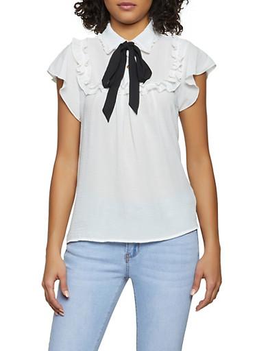 Tie Neck Half Button Ruffle Blouse,WHITE,large