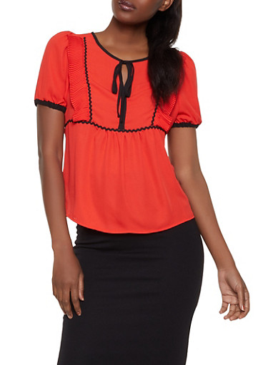 Pleated Ruffle Contrast Trim Blouse,ORANGE,large
