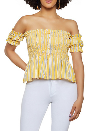 Smocked Off the Shoulder Peplum Top,YELLOW,large