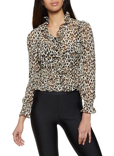 Ruffle Trim Cheetah Blouse,BROWN,large