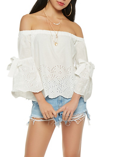 Off the Shoulder Eyelet Top,WHITE,large