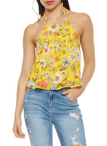 Floral Chiffon Halter Neck Top,YELLOW,large