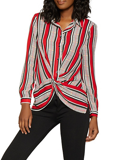 Striped Twist Front Shirt,RED,large