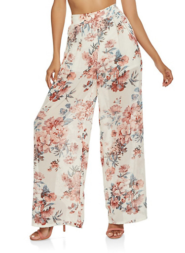 Printed Pull On Palazzo Pants,IVORY,large