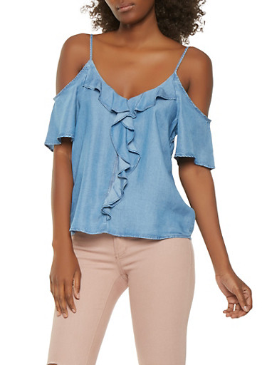 Ruffled Chambray Cold Shoulder Top,MEDIUM WASH,large