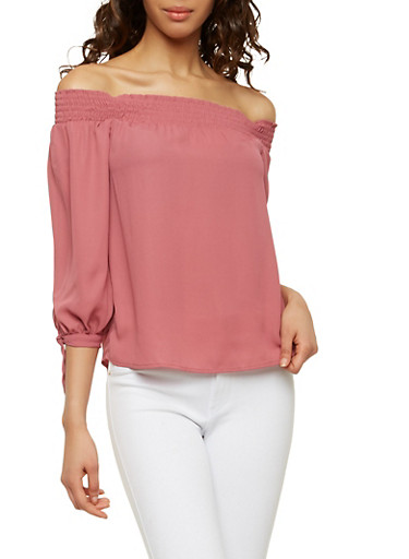 Tie Sleeve Off the Shoulder Top,MAUVE,large