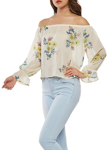 Floral Off the Shoulder Chiffon Top,IVORY,large