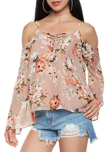 Floral Lace Up Cold Shoulder Top,MAUVE,large