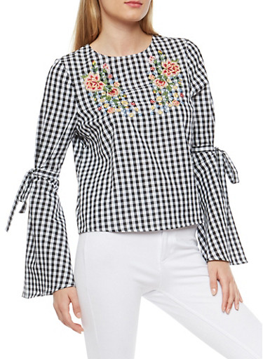 Embroidered Gingham Top with Tie Bell Sleeves,BLACK/WHITE,large