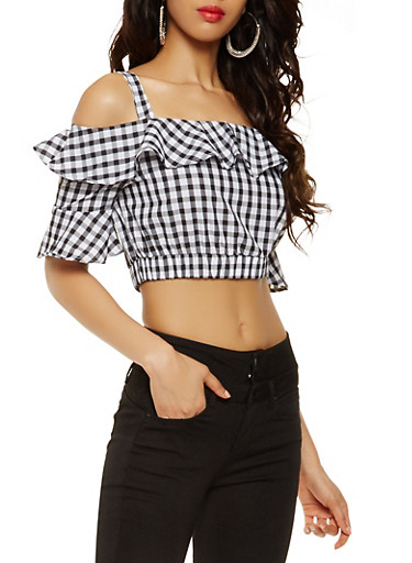 Ruffled Off the Shoulder Printed Crop Top | Tuggl