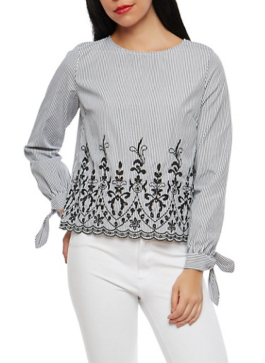 Striped Tie Sleeve Top with Embroidered Hem,BLACK,large
