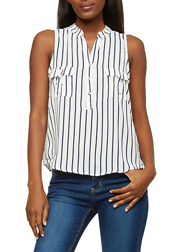 Striped Sleeveless Henley Top,WHITE  NAVY,large