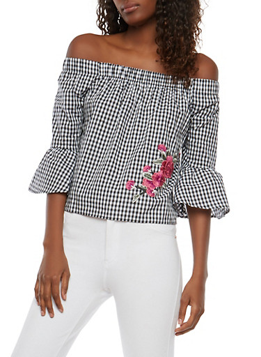 Off the Shoulder Embroidered Gingham Top,BLACK/WHITE,large