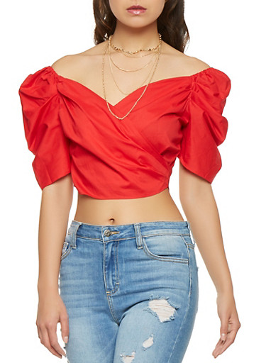 Bubble Sleeve Crop Top,RED,large