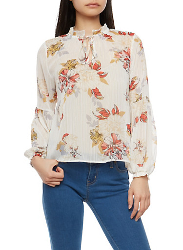 Floral Shimmer Chiffon Blouse,WHITE,large