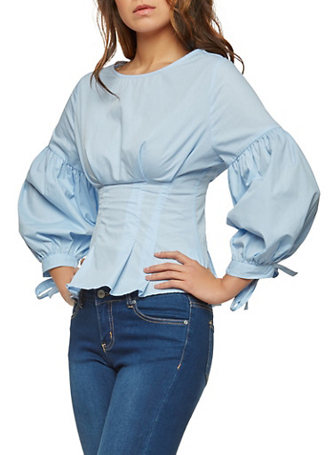 Corset Waist Balloon Sleeve Top,SKY BLUE,large