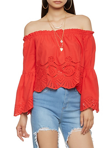 Off the Shoulder Eyelet Trim Top,RED,large