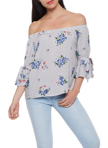 Striped Floral Off the Shoulder Top,GRAY,large