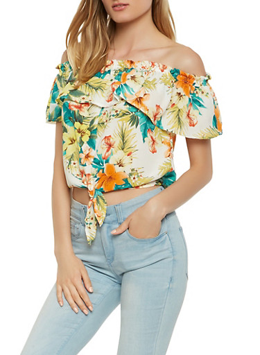 Floral Off the Shoulder Tie Front Top,WHITE,large