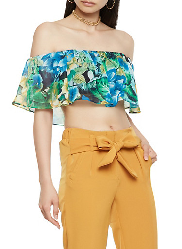 Floral Overlay Off the Shoulder Bandeau,GREEN,large