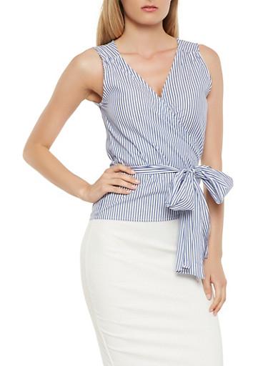 Striped Tie Waist Wrap Top,NAVY,large