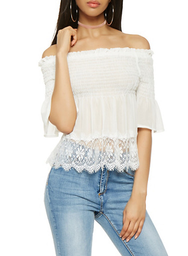 Lace Trim Off the Shoulder Top,IVORY,large