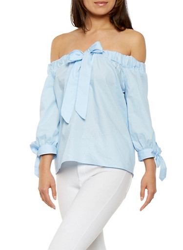 Off the Shoulder Tie Front Top,BABY BLUE,large