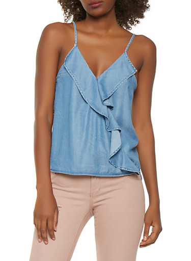 Faux Wrap Chambray Tank Top,MEDIUM WASH,large