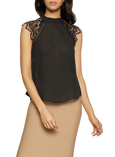 Crochet Cap Sleeve Blouse,BLACK,large