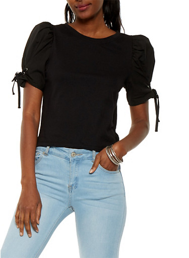 Bubble Lace Up Sleeve Top | Tuggl
