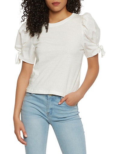 Bubble Lace Up Sleeve Top - 1401069399858