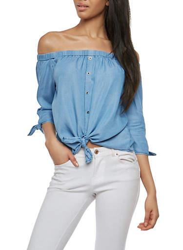 Chambray Off the Shoulder Tie Front Top,MEDIUM WASH,large