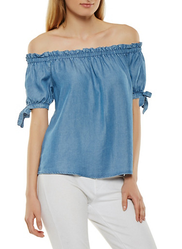 Chambray Off the Shoulder Top,MEDIUM WASH,large