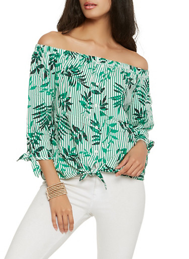 Printed Off the Shoulder Top,GREEN,large