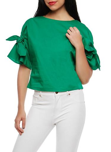 Tie Sleeve Top,GREEN,large