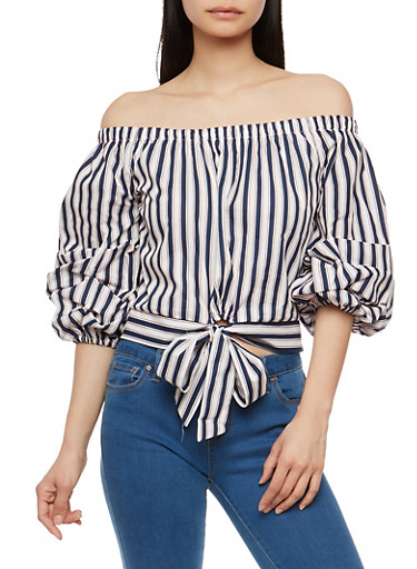 Striped Bow Tie Front Off the Shoulder Top,NAVY,large