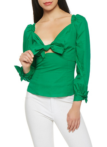 Bow Tie Front Peasant Top,GREEN,large