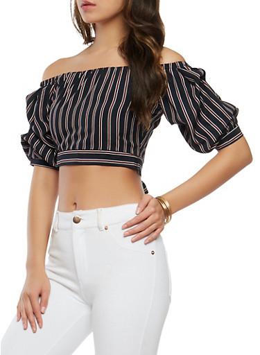 Striped Off the Shoulder Crop Top,NAVY,large