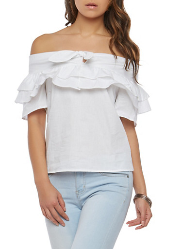 Off the Shoulder Poplin Top,WHITE,large